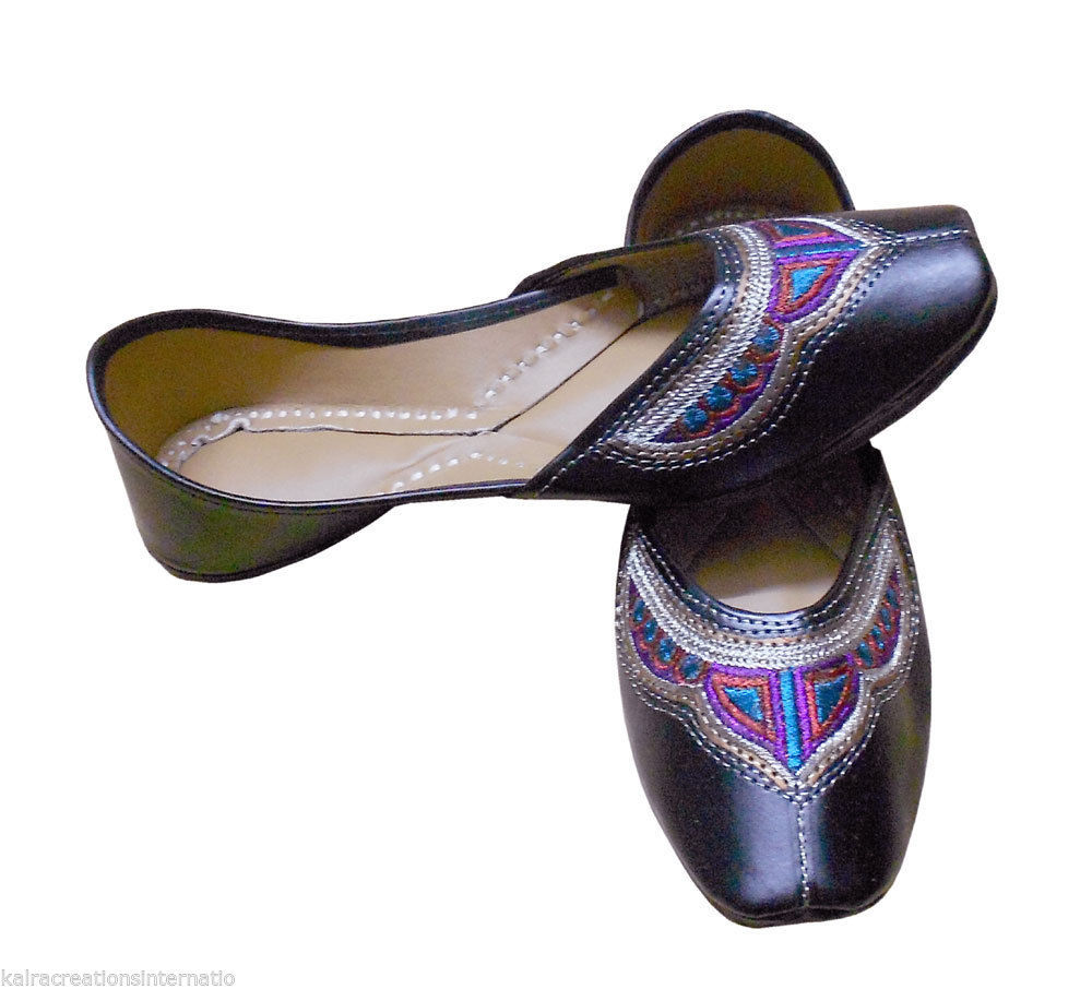 Primary image for Women Shoes Indian Handmade Leather Black Ballerinas Flat Jutties US 7.5