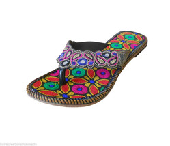 US 6-10 EMBROIDERED WOMEN SLIPPERS SHOES LEATHER FLIP-FLOPS INDIAN HANDM... - £34.02 GBP