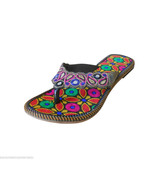 Women Slippers Indian Handmade Embroidered Leather Flip-Flops Flat US 7-10 - $29.99