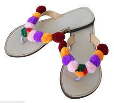 Women Slippers Indian Handmade Flip-Flops Traditional Slip On US 5-8.5 - $29.99