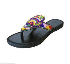 Women Slippers Ethnic Indian Leather Handmade Designer Flip-Flops Black US 6-10 - $29.99