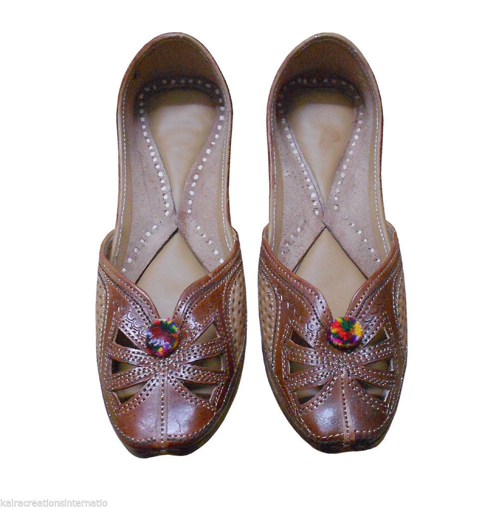 Primary image for Women Shoes Indian Handmade Jutties Leather Ballerinas Mojari Flat US 5.5