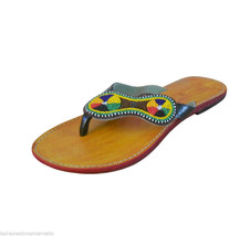Women Slippers Indian Designer Handmade Leather Flip-Flops Camel Flat US... - $29.99