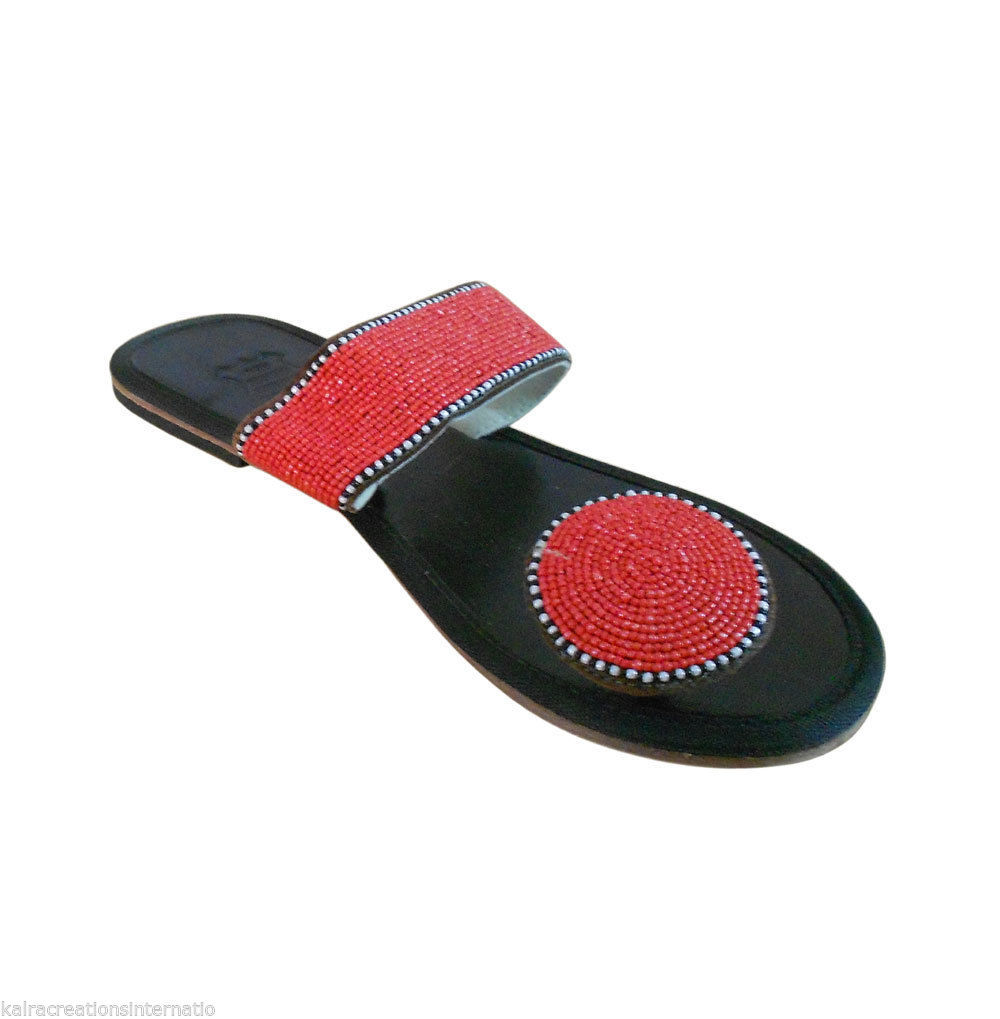 Primary image for Women Slippers Traditional  Black Leather Indian Handmade Flipflops Flats US 6