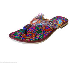 Women Slippers Indian Traditional Leather Flip-Flops Multi-Color US 6 - $29.99