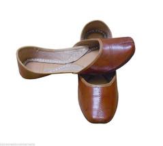 Women Shoes Indian Handmade Leather Ballerinas Brown Mojari Flat US 7.5 - $29.99