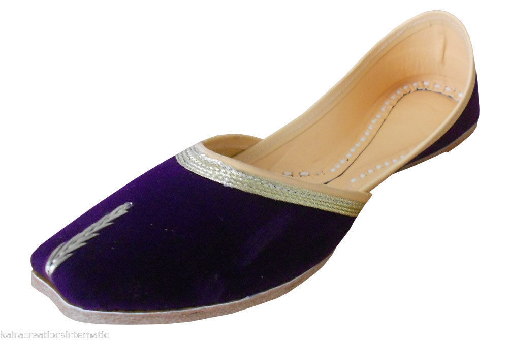 Primary image for Women Shoes Indian Handmade Traditional Royal Ballet Flats Purple Jutties US 9