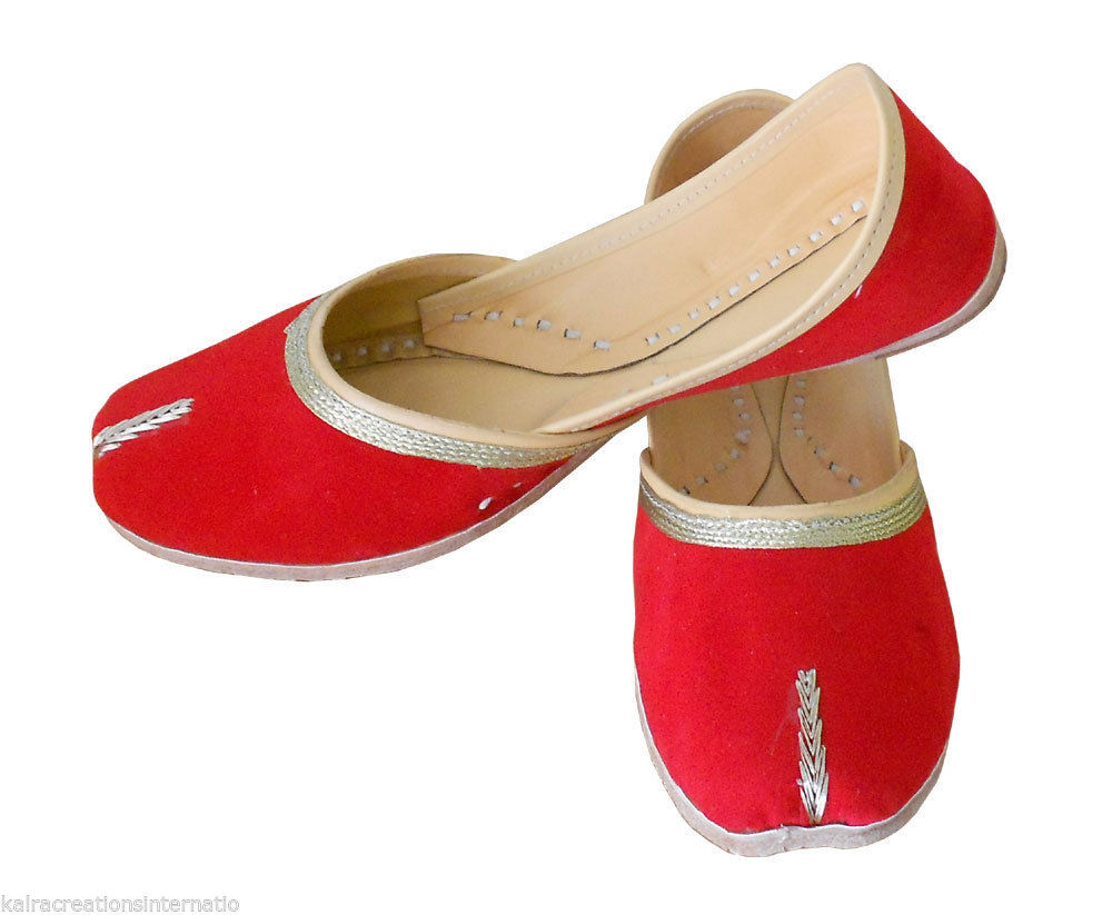 Primary image for Women Shoes Indian Handmade Leather Red Traditional Mojaries Ballet Flats US 9