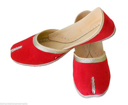 Women Shoes Indian Handmade Leather Red Traditional Mojaries Ballet Flat... - $27.99