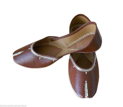 Women Shoes Indian Handmade Leather Brown Flip-Flops Mojari Flat US 6.5 - $27.99