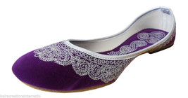 Women Shoes Indian Handmade Leather Ballerinas Purple Mojari Flat US 8 - $24.99
