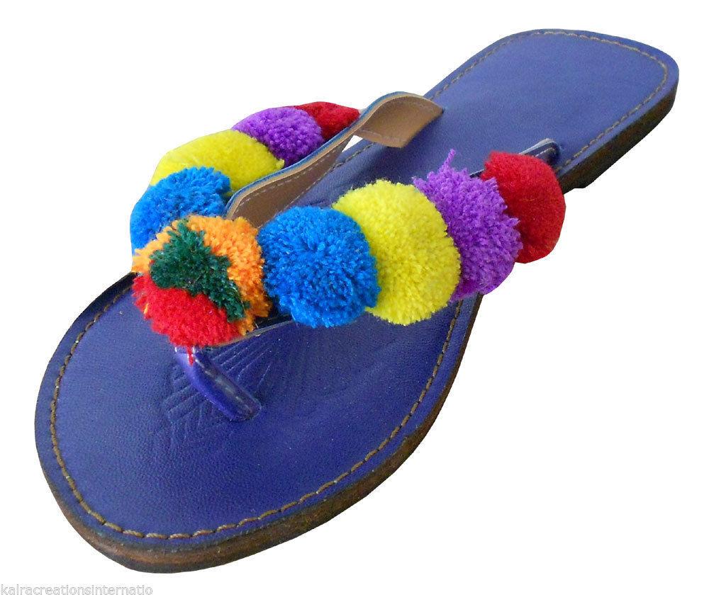 Women Slippers Indian Handmade Traditional Leather Flip-Flops Slip On US 5 - $29.99