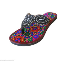 US 6-10 ETHNIC SLIPPERS INDIAN LEATHER FLIP-FLO... - $31.49