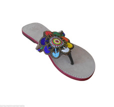 US 6-10 INDIAN WOMEN SLIPPERS SHOES LEATHER MOJARI FLIP-FLOPS HANDMADE S... - $34.99