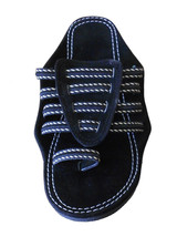 Men Slippers Indian Handmade Designer Black Flip-Flops Slip On US 6-11 - $39.99