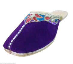 Women Slippers Indian Clogs Jutti Handmade Leather Purple Mojari Flat US... - $24.99