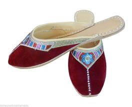 Women Slippers Indian Handmade Clogs Leather Flip-Flops Maroon Jutties US 6-9 - $24.99