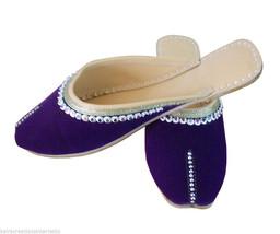 Women Slippers Indian Handmade Leather Flip-Flops Clogs Jutties Purple US 6-10 - $24.99