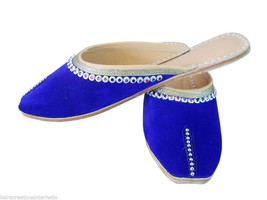 Women Slippers Indian Handmade Clogs Blue Traditional Leather Mojari US 6-9 - $24.99