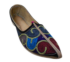 Men Shoes Indian Handmade Traditional Espadrilles Genuine Leather Mojari US 9 - $39.99