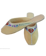 Women Slippers Indian Traditional Leather Flip-Flops Clogs Mojari US 6-10 - $24.99