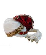 INDIAN HANDMADE MEN HAT WHITE WEDDING PAGRI GROOM SAFA ROYAL PAG TURBAN ... - $74.99