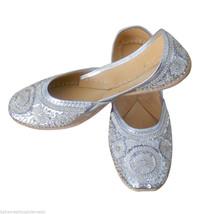Women Shoes Indian Handmade Oxfords Leather Flip Flops Silver Mojari US 6 - £22.64 GBP