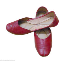 Women Shoes Indian Handmade Leather Ballerinas Mojari Flat US 6.5 - $29.99