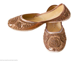 Women Shoes Leather Traditional Indian Handmade Brown Mojari Oxfords US 9 - £22.64 GBP