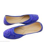 Women Shoes Indian Handmade Ethnic Leather Oxfords Blue Mojari Flat US 10 - $44.99