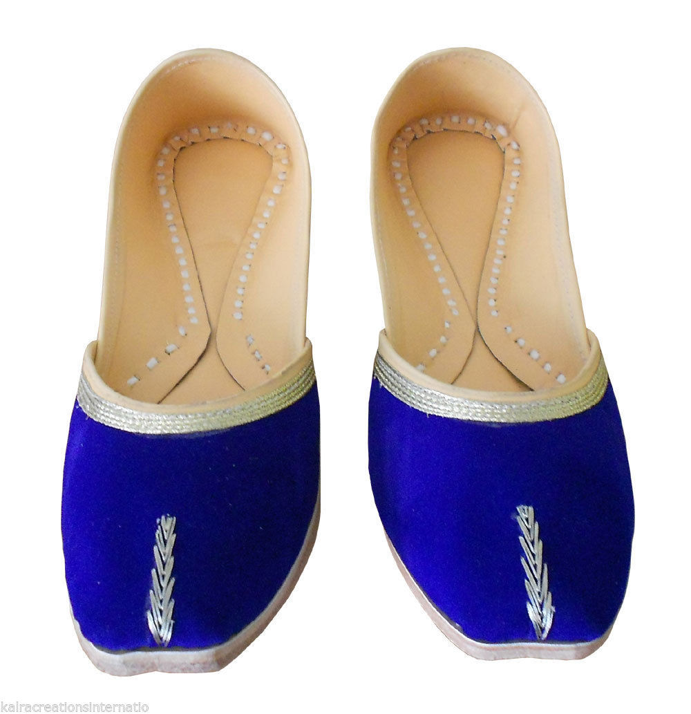 Primary image for Women Shoes Indian Handmade Traditional Blue Leather Ballet Flats Jutti US 7