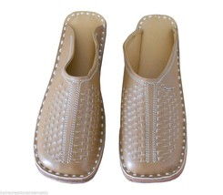Men Slippers Indian Handmade Traditional Leather Brown Clogs Jutties US 6 - $29.99