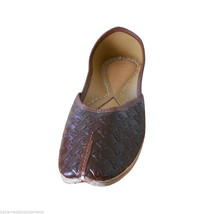 Women Shoes Indian Handmade Leather Ballet Flats Brown Mojari US 5.5 - £21.59 GBP