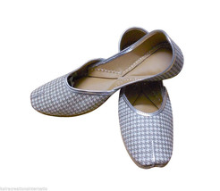 Women Shoes Indian Handmade Leather Flip-Flops Silver Traditional Mojari... - £23.13 GBP