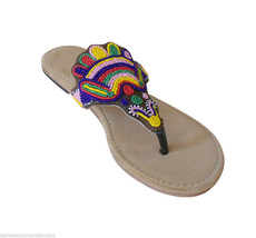 Women Slippers Indian Handmade Leather Flip-Flops Slip on Flats US 7-9  - $29.99
