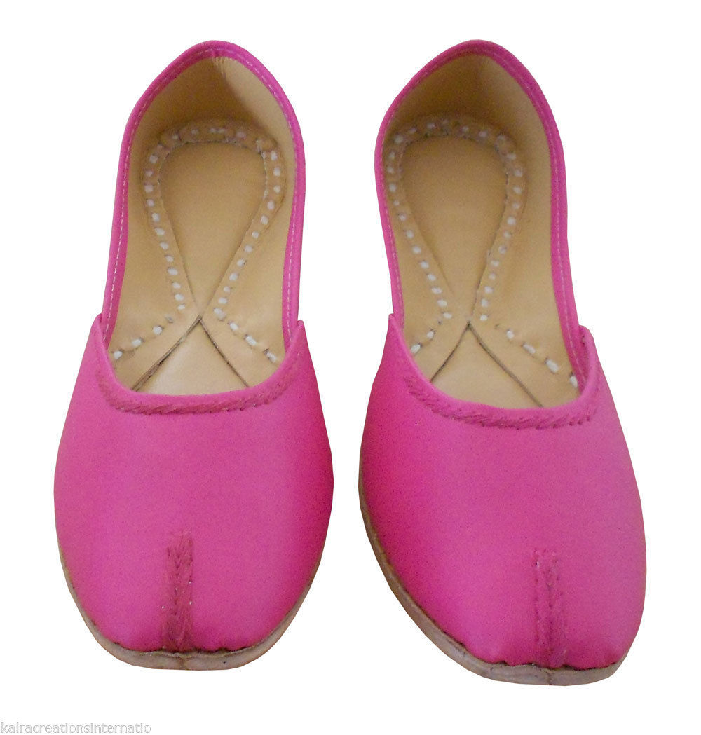 Primary image for Women Shoes Indian Handmade Leather Traditional Mojari Ballet Flats Pink US 8
