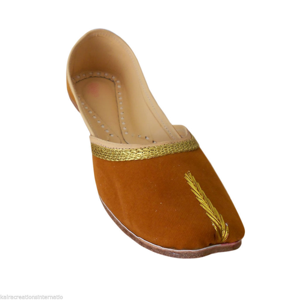 Primary image for Women Shoes Indian Handmade Brown Ballet Flats Mojari Brown Jutties US 6-12