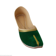 Women Shoes Traditional Indian Leather Flip-Flops Handmade Green Mojari ... - £19.27 GBP