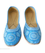 Women Shoes Indian Handmade Oxfords Traditional Sky-Blue Mojari Flat US 7 - $36.84 CAD