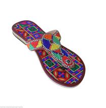 Women Slippers Indian Handmade Designer Leather Flip-Flops Slip On US 6  - $29.99