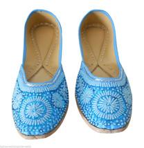 US 10 INDIAN WOMEN SHOES TRADITIONAL LEATHER JUTTI SKY-BLUE MOJARI FLIP-... - $42.99