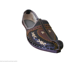 Men Shoes Indian Handmade Ethnic Brown Mojari Leather Espadrilles Flat US 7 - $34.99