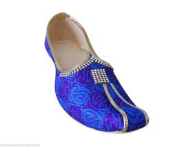 Men Shoes Handmade Traditional Indian Wedding Khussa Blue Mojari Loafers US 6 - $34.99