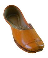 Women Shoes Indian Handmade Ballet Flats Traditional Leather Orange Jutt... - $39.99