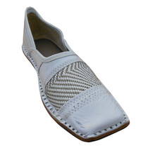 Men Shoes Indian Handmade Mojaries White Leather Flip-Flops Jutties Flat US 8 - $39.99