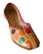 Women Shoes Indian Handmade Rajasthani Brown Ballet Flats Mojari US 5.5-8.5 - $24.99