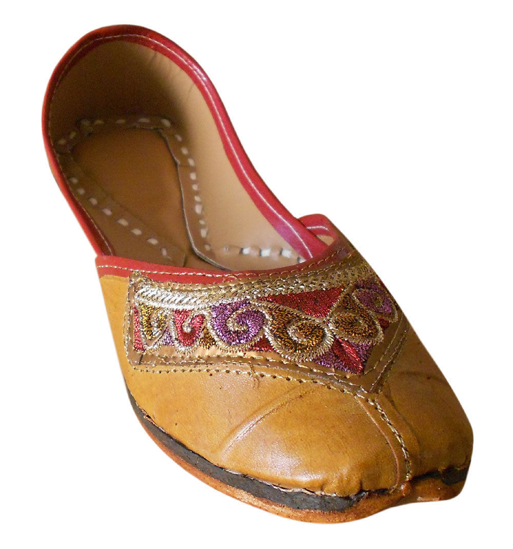 Primary image for Women Shoes Indian Handmade Leather Brown Ballet Flats Mojari US 5.5