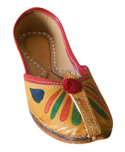 US 5.5 ETHNIC LEATHER WOMEN SHOES INDIAN FLIP-FLOPS HANDMADE MOJARI KCIW18 - $39.99