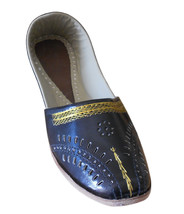 Men Shoes Indian Handmade Black Traditional Loafers Leather Flat Mojaries US 8 - $34.99
