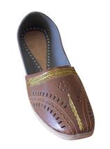 Men Shoes Indian Handmade Jutties Leather Brown Loafers Mojaries US 8 - $34.99